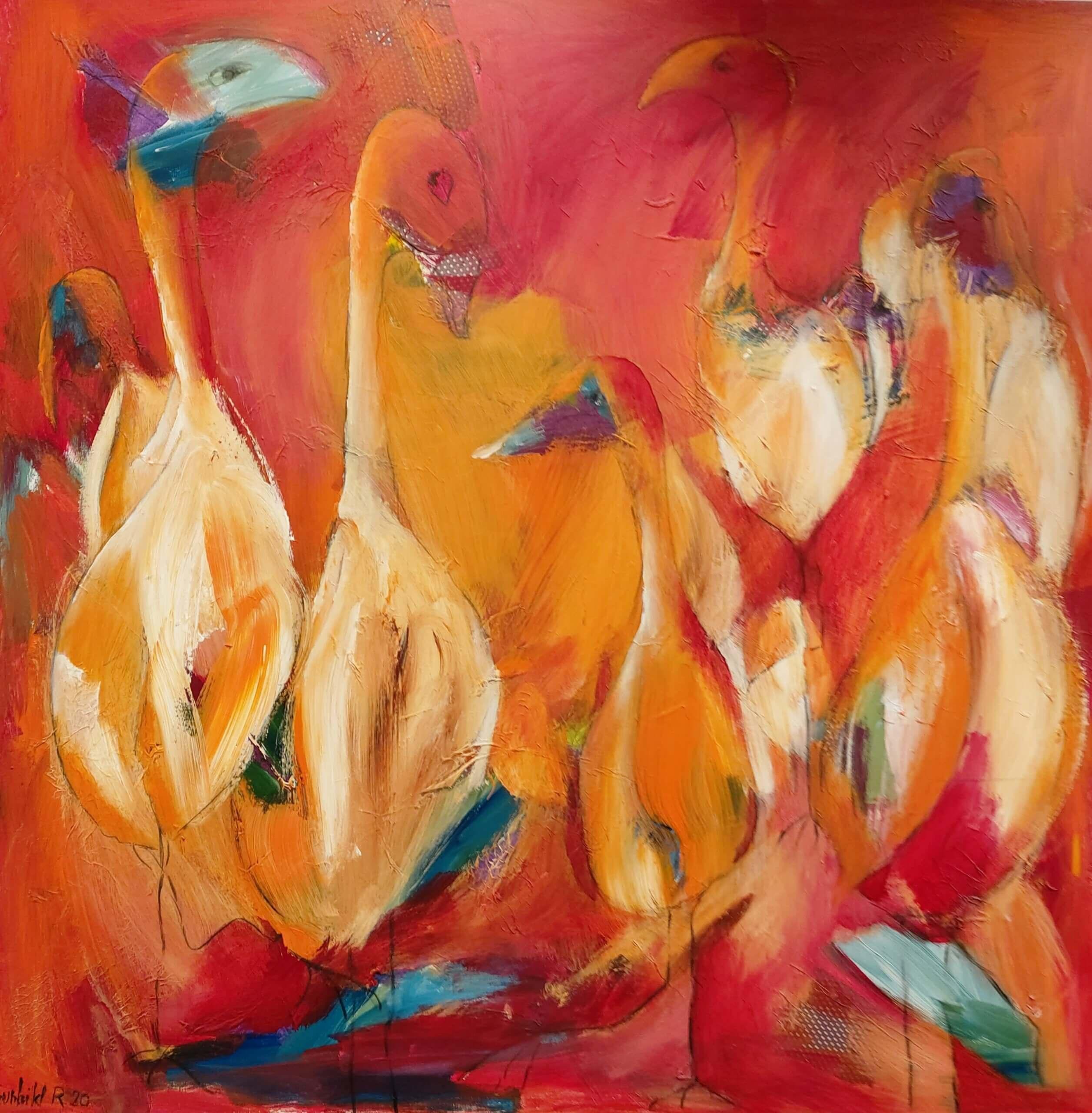 Finurlige fugle maleri af Gunhild Rasmussen