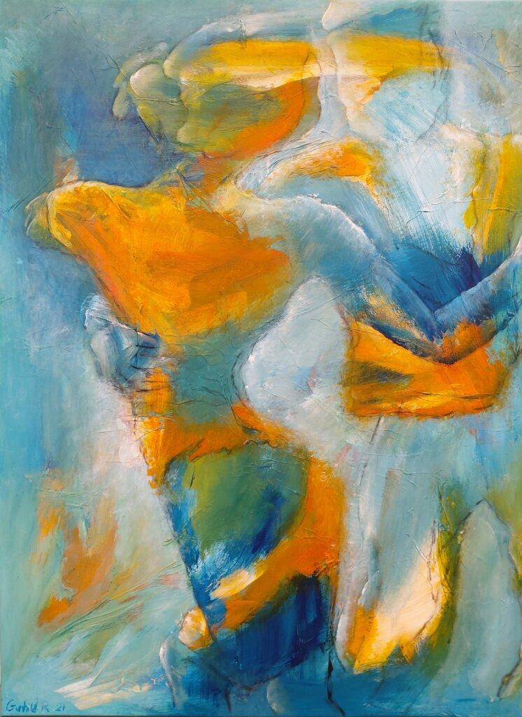 let abstrakt maleri Let og svingende af Gunhild Rasmussen