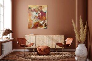 Maleri af Gunhild Rasmussen i gunhilds galleri interiør der fremhæver kvaliteter i maleriet