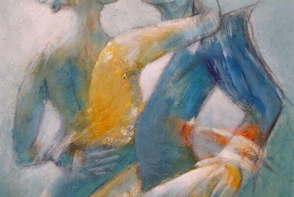 farverige malerier, blå intensitet af Gunhild Rasmussen