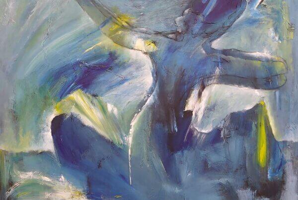 Farverige malerier Dansende og svævende af Gunhild Rasmussen