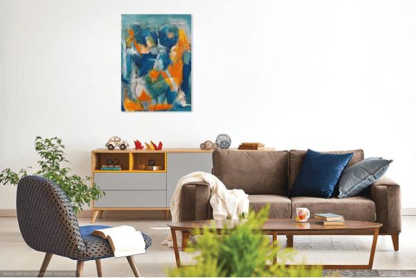 Maleri af Gunhild Rasmussen digitalt sat ind i en stue