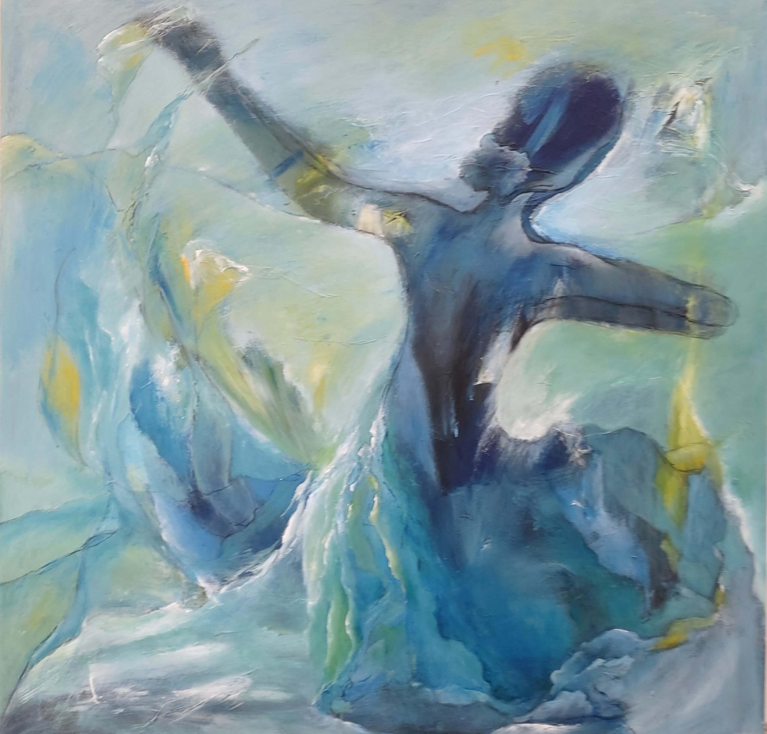 Dansende og svævende maleri af Gunhild Rasmussen kan se si Kunst i Pinsen