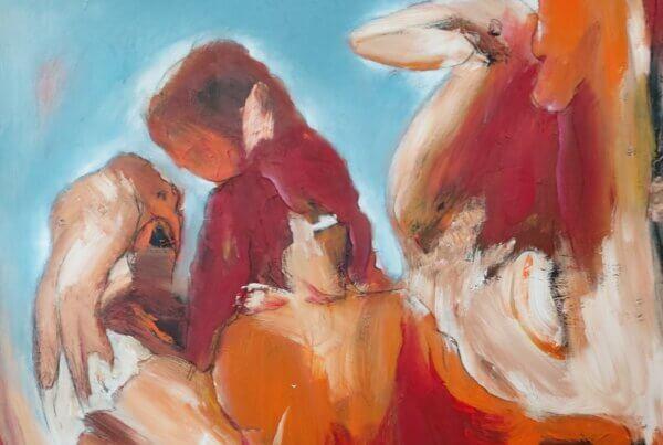 Omsorg let abstrakt maleri af Gunhild Rasmussen