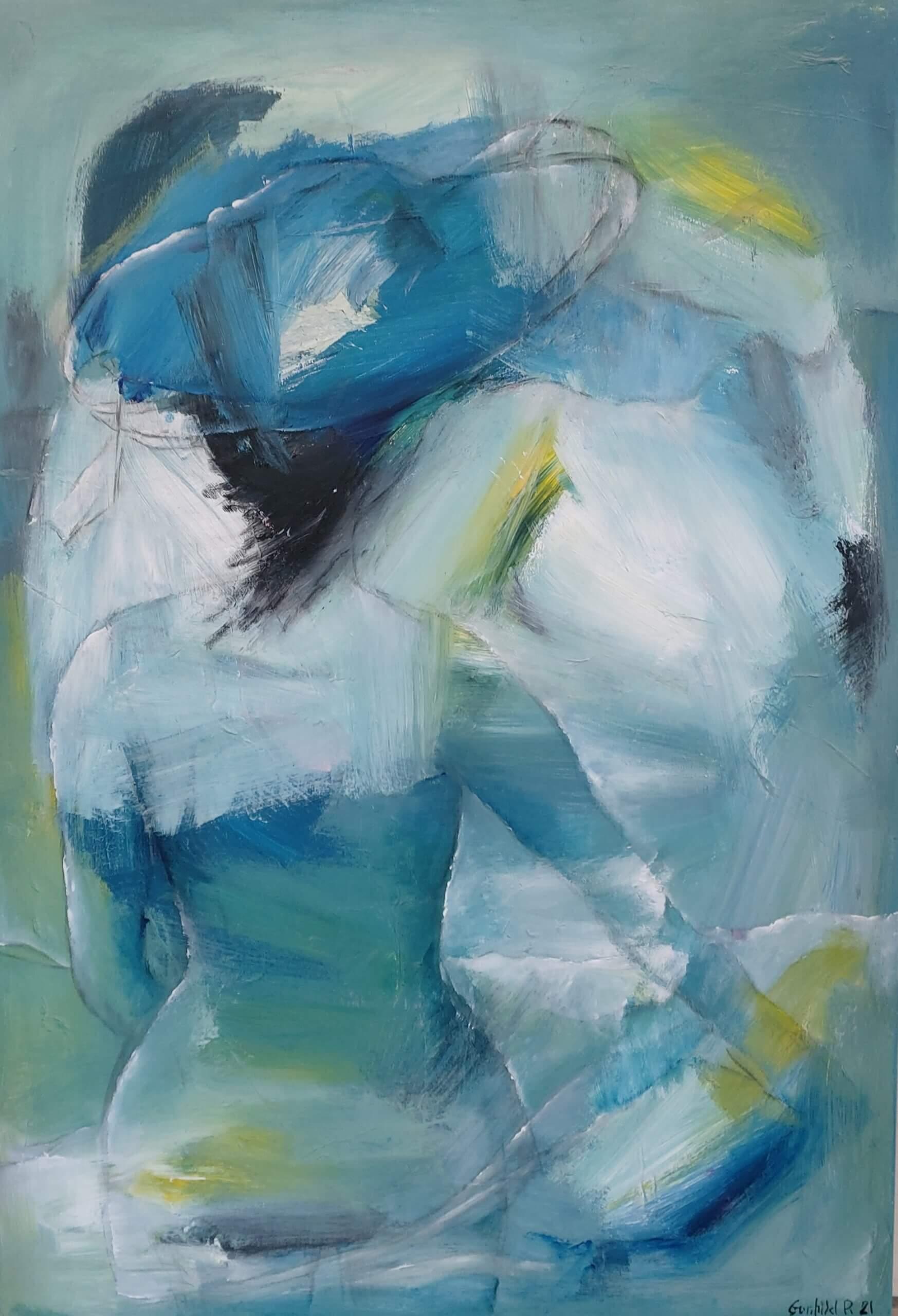 blå udsigt abstrakt maleri af Gunhild Rasmussen