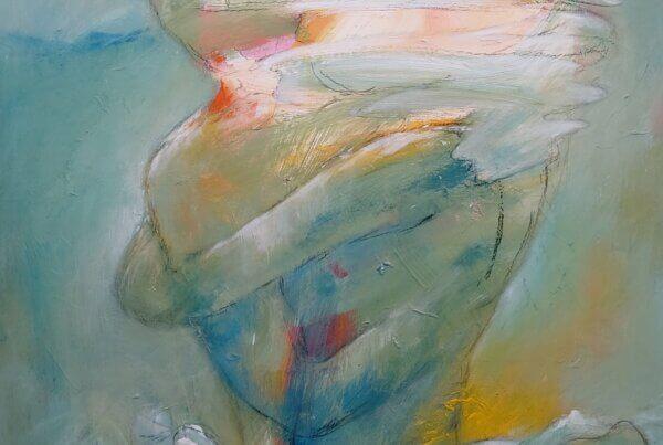 abstrakt maleri i Gunhilds Galleri - kan ses i Kunst i Pinsen