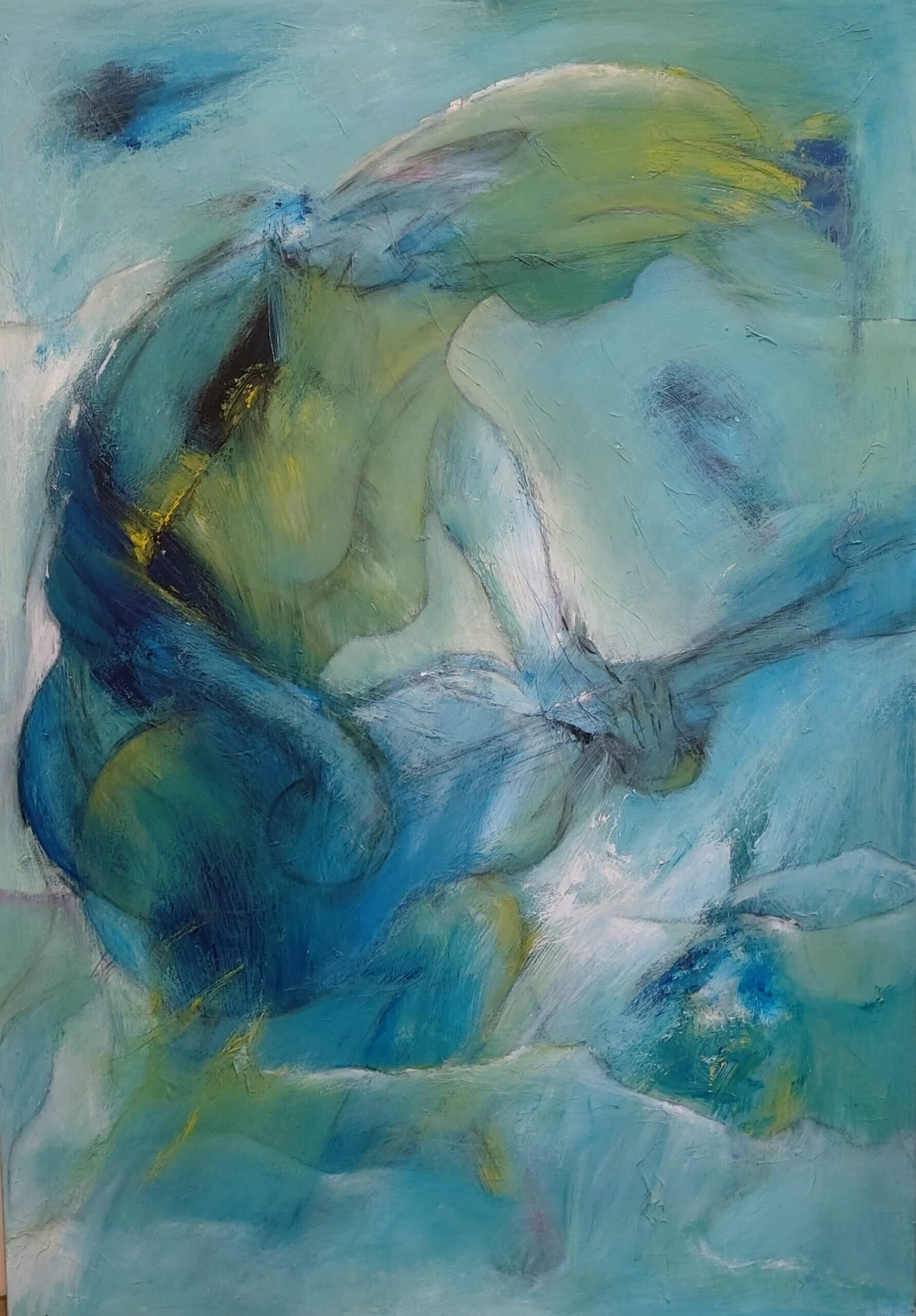 musik og nærvær maleri af Gunhild Rasmussen kan ses i kunst i pinsen