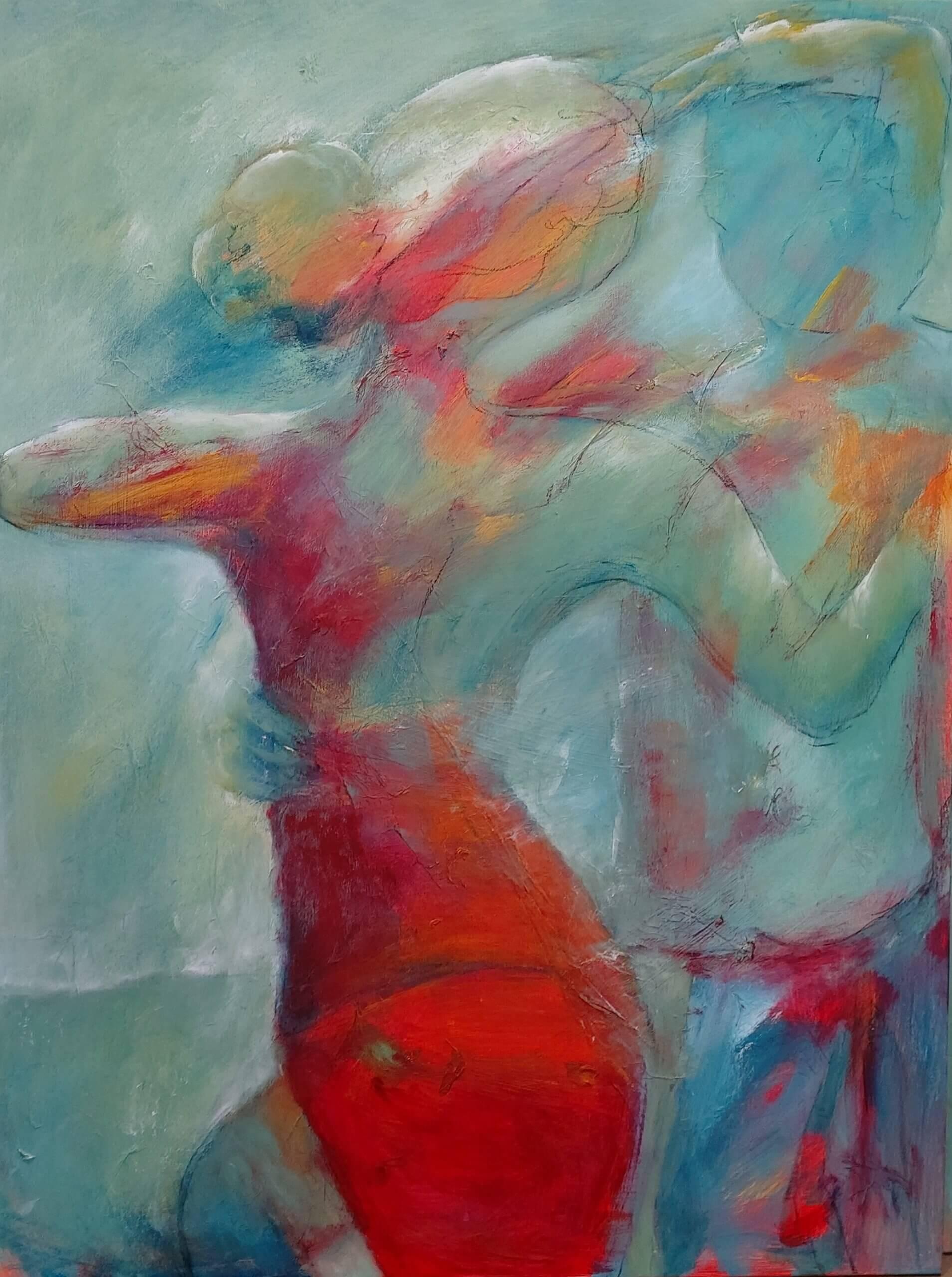 sving om - rød kjole maleri i Gunhilds Galleri som kan ses i kunst i pinsen