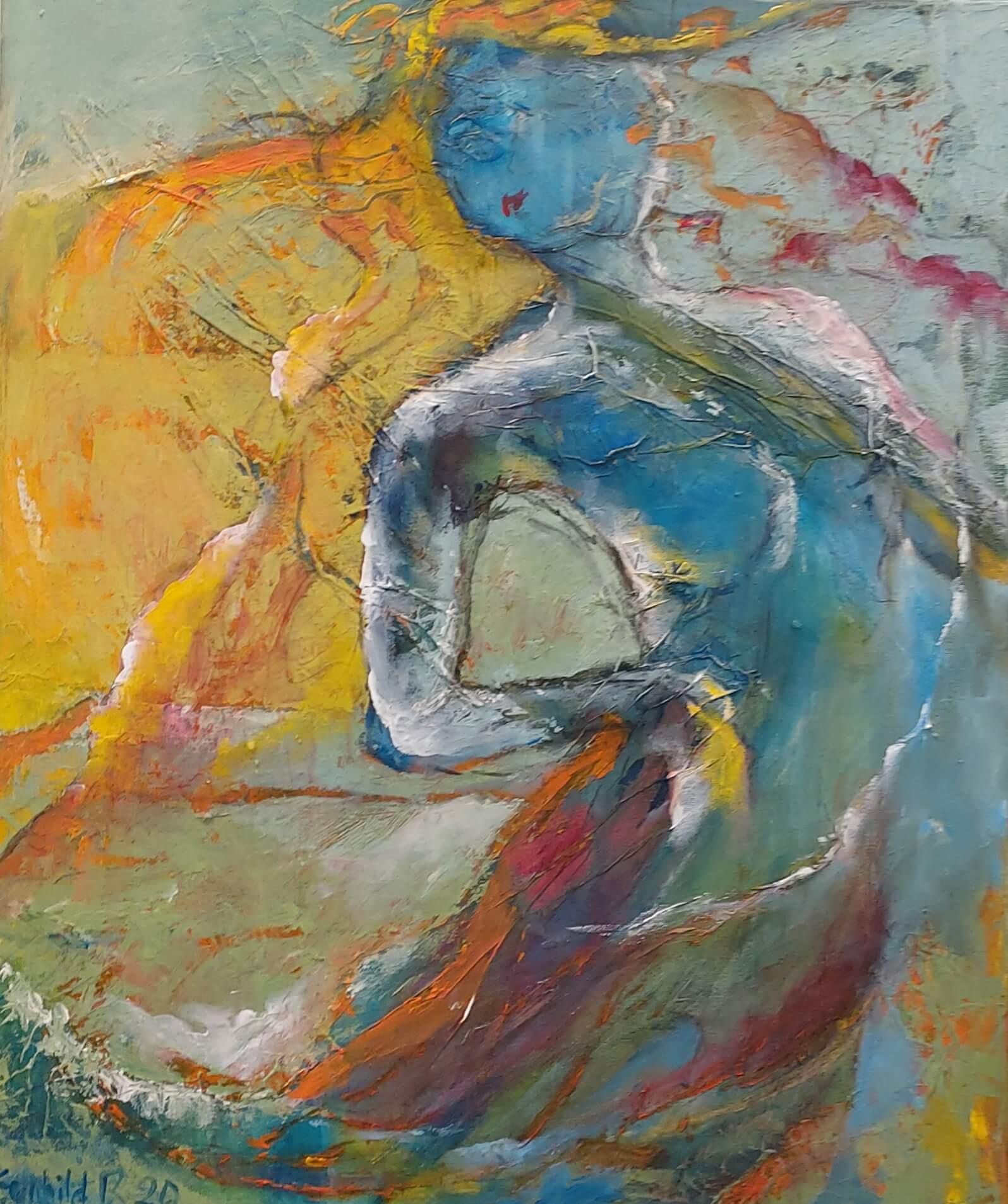Havfrue- maleri af Gunhild Rasmussen